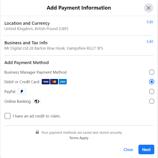 Facebook Ad Account Add Payment