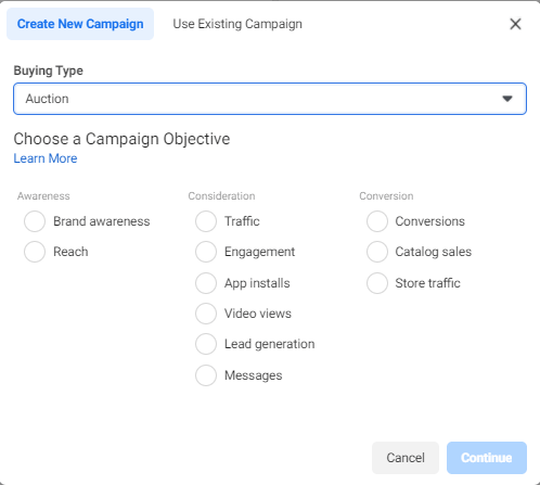 Facebook Ad Account Campaign Objective