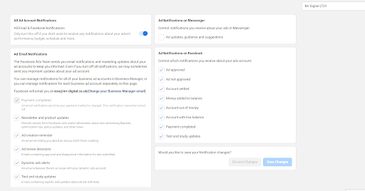 Facebook Ad Account Notification Settings