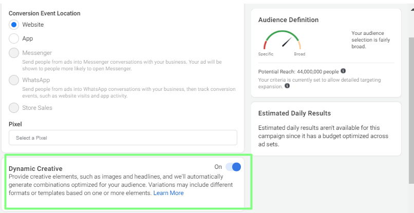 Facebook Dynamic Ad Specification