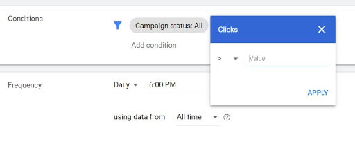 Google ads - Bidding rule condition