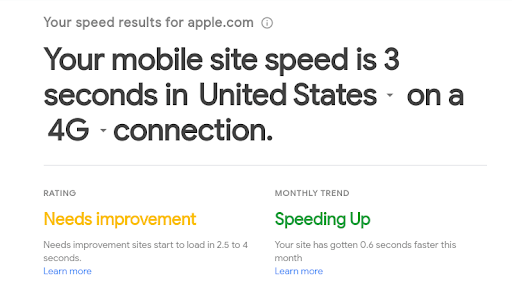 Website page speed report