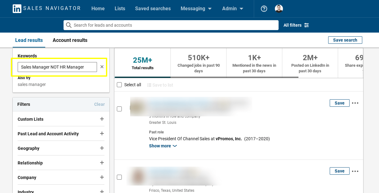 LinkedIn sales navigator search by Boolean NOT operator