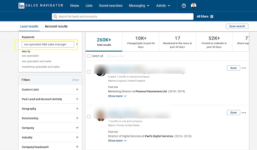 Linkedin sales navigator search by Boolean AND operator